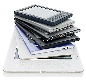 Pilha de ebooks para reciclagem