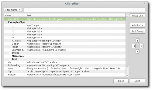 Painel Clip Editor