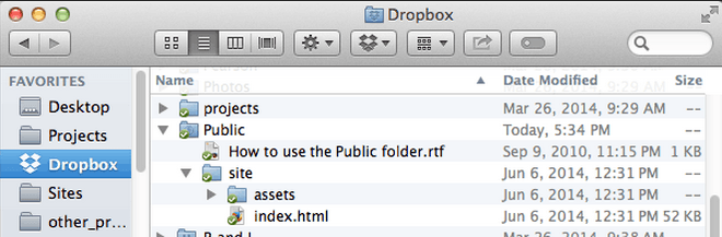 Dropbox funciona como provedor de hospedagem