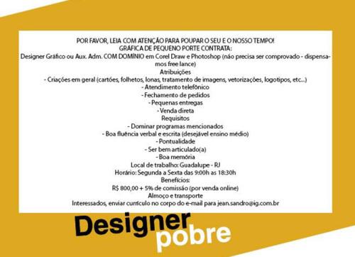 design pobre - exemplo de vaga para designer