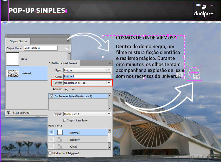 Pop-up simples - Multi State Objects - Adobe InDesign