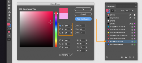 HSB Color InDesign CC 2021