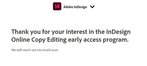 Copy Editor Beta Program InDesign CC 2021